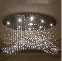 Wholesale Factory price oval curtain wave modern chandeliers crystal lamp living room lamp hotel lighting size L750 W300 H650mm