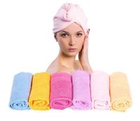 Wholesale 1000 piece hot Microfiber Magic Hair Dry Drying Turban Wrap Towel Hat Cap Quick Dry Dryer Bath make up towel