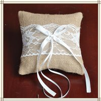 Wholesale 2016 High Quality White Lace Linen Ring Pillow With Bow For Wedding Ceremony Party Stuff Accessories