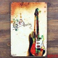 Wholesale Music guitar Tin Sign Bar pub home Wall Decor Retro Metal Art Poster