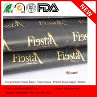 Wholesale Hot Sale Black Background Gold Metallic Logo Wrapping Tissue Paper