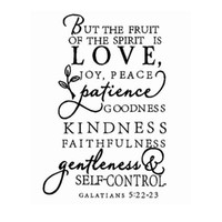 bible art - Home Decor Wall Sticker Large size bible verse decal The fruit of the Spirit Vinyl Wall Decal art design word