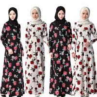 abaya garment - long sleeve maxi dress Rose floral printe arab garment enfant Long evening dress abaya ete muslim skirt apparel pakistani dress