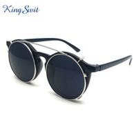 achat en gros de lunettes de soleil clip noir-Lunettes de soleil mode rétro Steampunk pour hommes et femmes avec lunettes noires Lunettes de soleil à cadre rond Lunettes de haute qualité femmes KS372