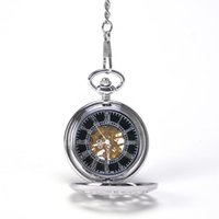 antique pine - Silver Round Chinese Divine Bird Cranes Under The Pine Tree Hand Wind Mechanical Pocket Watch Mixed