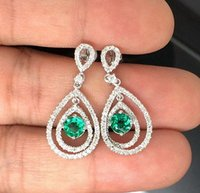 Wholesale 2 CT SOLID Kt WHITE GOLD NATURAL DIAMOND GORGEOUS GREEN EMERALD EARRING