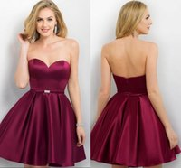 Wholesale 2016 Fashion Burgundy Short Prom Dresses Strapless SEXY Open Back Ribbon Sash Ball Gown Draped High Quality Satin Party Dresses Evening Wear