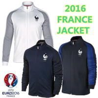 Wholesale 2016 France soccer jackets France away blue football jackets POGBAES BENZEMA top quality jackets