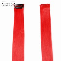 Wholesale Cheap Promotion Red F19 quot Synthetic Hair Colorful Popular Clip in Hair Extensions Synthetic Hair Weaves Highlight Extensions