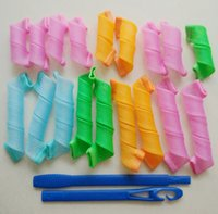 Wholesale 10sets hooks long Magic hair curler rollers plastic hair curler hairsyle styling roller tools no damage