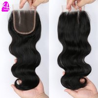 Wholesale kelang Natural Color Brazilian Body Wave Closure Human Hair Closure Free and Middle Part quot x4 quot Swiss Lace Closure Virgin Body Wave
