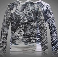 art tattoo shirt - Men s Casual Slim Fitted Long Sleeve T Shirt Japan Ukiyoe Tattoo Art Design Cotton Dragon Pattern Print Tops Tee Shirts