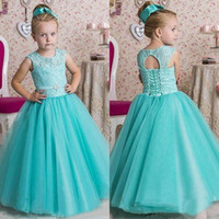 Wholesale Lace Wedding Dress Princess Cut - 2017 Mint Green Tulle Princess Floor Length Flower Girls Dresses For Weddings Cheap Lace Cut Out Back Lace Up Vintage Birthday Gown EN110310