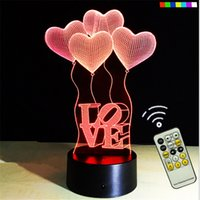 acrylic led furniture - 3D Lamp Remote Control Best Gift For girls Acrylic Table Night light Furniture Decorative colorful color change household Home Accessories