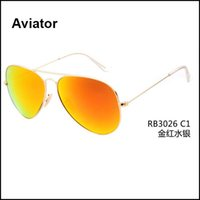 authentic aviator sunglasses - Aviator Sunglasses Flash Mirror Sunglasses Men Women UV Protect Designer Authentic Sunglasses Original Leather Box Hot Sale