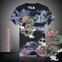 Wholesale New Arrival Chinese Style Embroidery Dragon t shirt Men s Round Neck Cotton kung fu Shirts Black White Plus Size Shirt