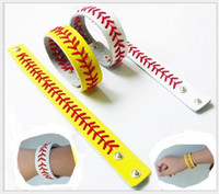 baseballs stainless steel - 2016 New Leather Baseball or Softball Bracelet with Red Stitching and Snap Closure Sports Jewelry AA1622