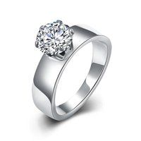 Wholesale CZ Diamond Engagement Ring Trendy Platinium Plated L Titanium Stainless with Cubic Zirconia Rings Fashion Jewelry for Women Romantic Gift