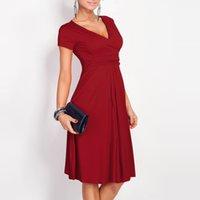 Wholesale 2016 Sexy Women s Dress Vestidos Fashion Club Summer Autumn V Neck Pleated Dress Vestidos Bodycon Plus Size L XL XXL XXL Dresses