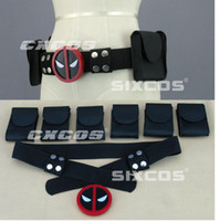 Wholesale Deadpool waist belts Cosplay Costumes accessories High quality black Red deadpool Belt Buckle with belt and belt pouches Halloween Costume