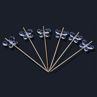 bamboo cocktail sticks - Clear Acylic Butterfly Bead Bamboo Cocktail Sticks Martini Picks Olive Picks Sandwich Cake Fruit Picks Party Favor