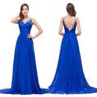 Wholesale Designed Cheap A Line Royal Blue Chiffon Evening Dresses Applique Backless Long Party Gowns Prom Dresses cps353