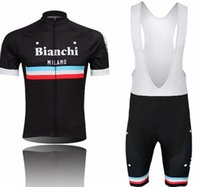 bianchi bib shorts - MEN S Cycling Jerseys Set Bianchi Black Short Sleeve With Cool Max Padded Bib None Bib Trousers Summer Cycling Skinsuit Sport Tracksuits