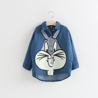 Wholesale Sweet Kids Girls Bunny Denim Tees Long Sleeve Cute Baby Kids Loose Cartoon Tops Fashion Children Clothing