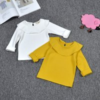 Wholesale Girls Winter Long SleeveT shirts Tops Tees Baby Kids Clothing Solid Color Fashion collar cotton clothes