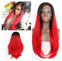 Cheap Popular Style Sexy Hair wig Products Womens Cheap Synthetic Hair 3 4 Half Wigs Long 1b red straight Hair Party Wig