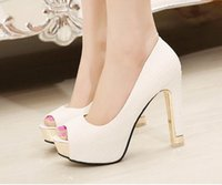 Wholesale In stock high heel appliques white black wedding shoes peep toe wedding sandals white bridal shoes
