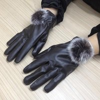Wholesale Fashion Women Lady Autumn Winter Top Quality PU Leather Gloves Warm Rabbit Fur Mittens Outdoor Windproof Full Fingers Glove