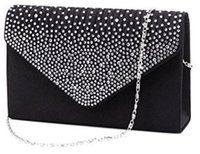 Wholesale Brand New Ladies Fashion Handbag Large Evening Satin Bridal Crystal Wedding Favor Bags Diamante Clutch Bag for Women Party Prom Envelope