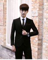Wholesale New Arrival Korea Style One Button Groom Tuxedos Wedding Suit for men Groomsman Suit Boys Suit Jacket Pants Tie Vest Bridegroom Suit
