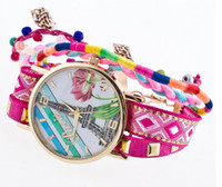 band paintings - Cute Conch Dangle Beads Fashion Ladies Braided Wide Band Roped Watch Unique Women Eiffel Tower Painting Gold Dial Snake Chain Wristwath Gift