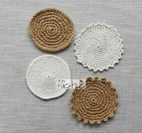 Wholesale Handwork Cup Mats pads cotton coasters Natural jute cotton coasters kitchen tools dinnerware Hand woven insulation pad cm