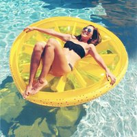 air lemon - Inflatable cm Summer Watermelon Pool Floats Beach Lemon Swimming Toy Fruit Slice Floating Air Mattress Swim Ring