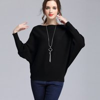 arrival knitted wear - 2016 New Arrival Bat Sleeve Baggy Straight Collar Long Sleeve Autumn Pullover Knits Women Sweaters Matched Street Wear DR1058
