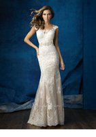 al training - Cap Sleeves Illusion Neckline Hand Beaded Lace Mermaid Custom Made S23 Al Wedding Dresses
