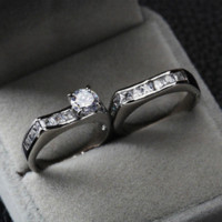 big horns - Zircon Wedding Rings Stainless Steel No Change Color Not White Gold Plated High Quality R1003 Cheap ring big