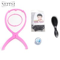 Wholesale Neitsi Wig Accessories Plastic Wig Stands High Quality Wig Cap Blue Lace Front Glue Tape Salon Hair Brush