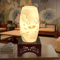 Wholesale LED E27 V Jingdezhen Egg Shell Handpainted Ceramic Wood Table Lamp Wedding Gifts Thanksgiving Day Gifts
