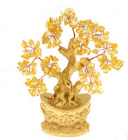 aluminum alloy ingot - Natural yellow crystal ingot tree lucky tree pachira decoration