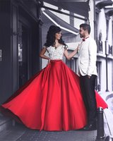 adorable prom dresses - Adorable Two Pieces Prom Dresses Off Shoulder Floral Crop Top Puffy A Line Long Train Red and White Evening Dresses