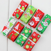 Wholesale 2 cm Christmas Ribbon rib belt Christmas trees snowflakes Santa printing ribbon diy bow Head flower accessories E425