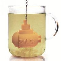 Wholesale 1pc New Silicone Tea Filter Mini Submarine Shape Tea Loose Infuser with a Chain Tea Diffuser Strainer