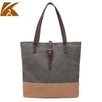 authentic hand bags - Authentic canvas bag retro casual hand stitching color simple all match wind bag