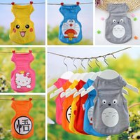 Wholesale Pikachu Dog Vests Shirt Styles Cute KT Spongebob Doraemon Cartoon Puppy Dog Apparel Pet Clothes For Spring Summer XS XL PPA331
