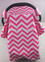baby carseat covers - soft baby Car Seat Canopy infant CarSeat Cover Warm in Winter Cool in Summer hot pink chevron zig zag minky free