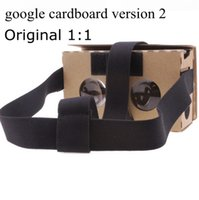 Wholesale DIY Google Cardboard V2 D glasses VR boxes Virtual Reality Viewing google Version II Paper Glasses for iphone S plus SE Samsung s7